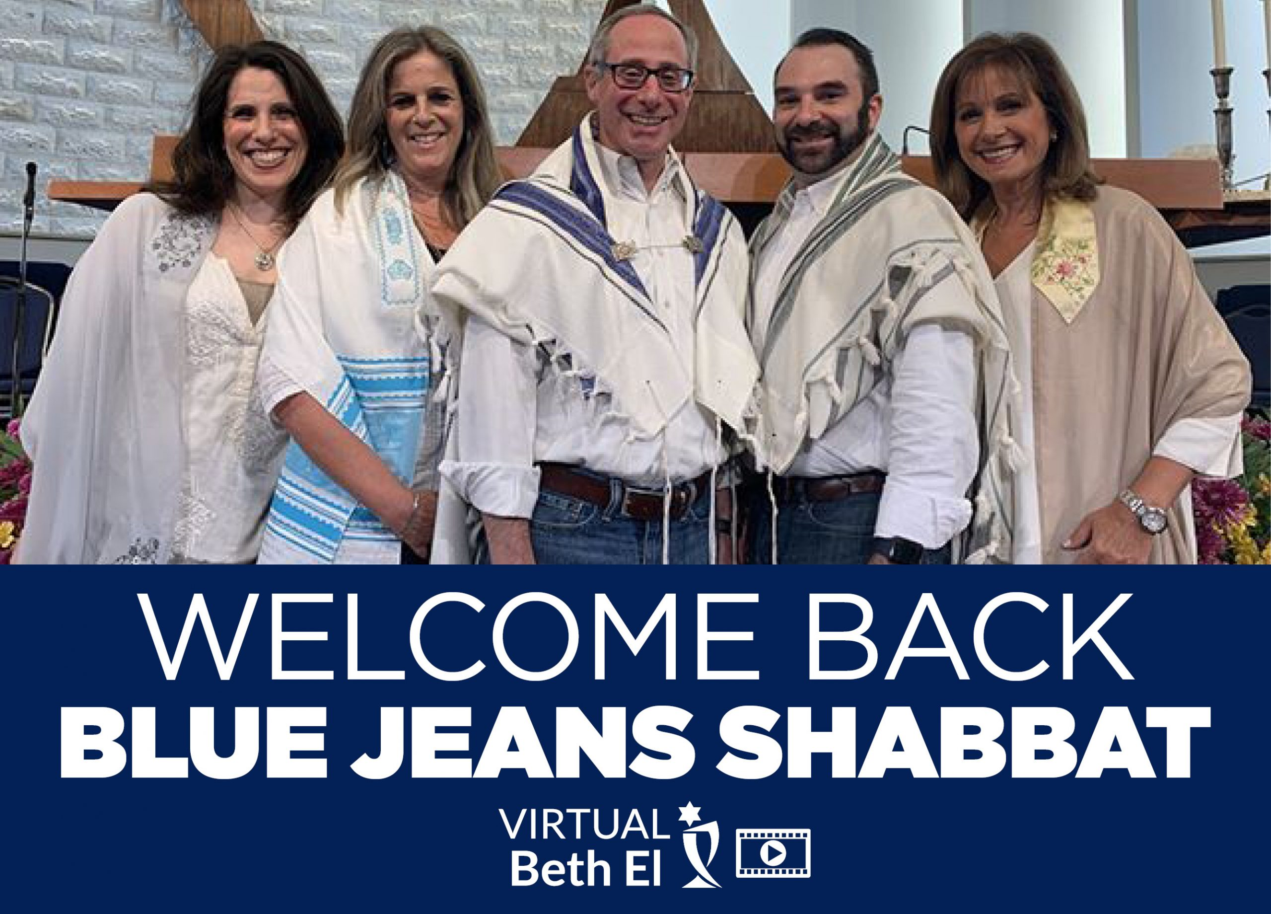 Welcome Back Blue Jeans Shabbat with Temple Beth El event graphic August 2021