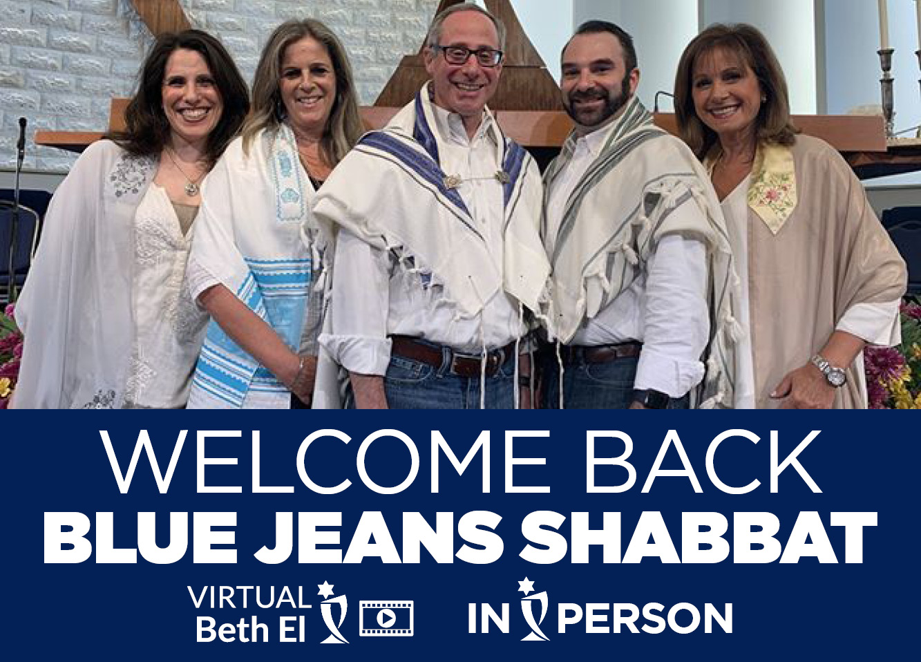 Welcome Back Blue Jeans Shabbat event graphic August 2021