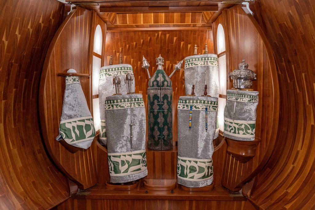 Torahs and Torah covers in the Ark at Temple Beth El