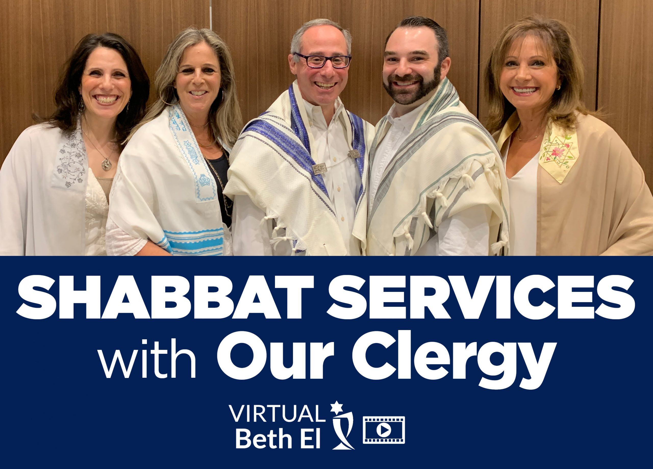 Shabbat Services with Temple Beth El Clergy, event graphic, noting that this is for virtual services via Live Stream