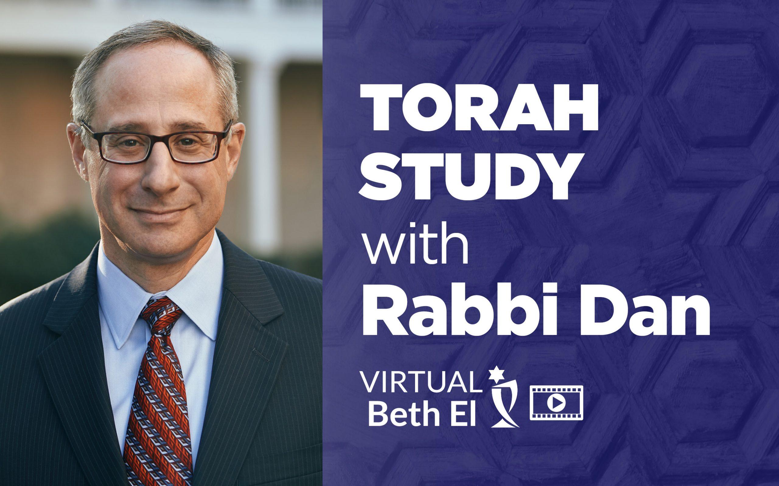 Torah Study with Rabbi Dan Levin with Temple Beth El event graphic for Temple Beth El