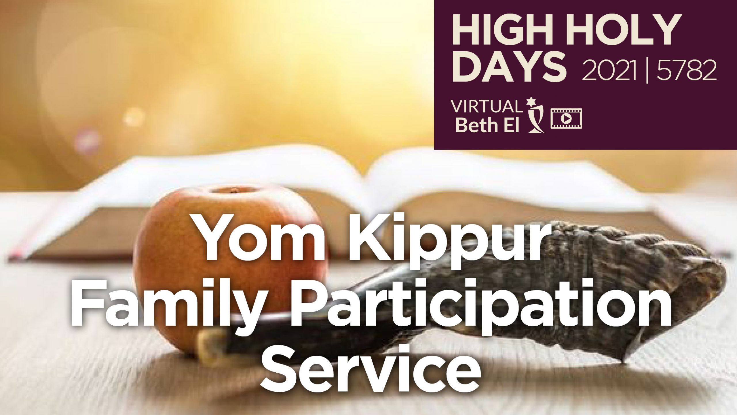 Yom Kippur Family Participation Services Announcement Graphic for 2021 5782