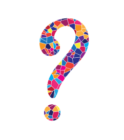 Question mark in mosaic style, created for Temple Beth El;