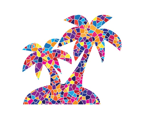 Beach palm trees in Mosaic Style, created for Temple Beth El