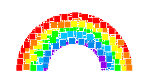 Rainbow in Mosaic Style, created for Temple Beth El;