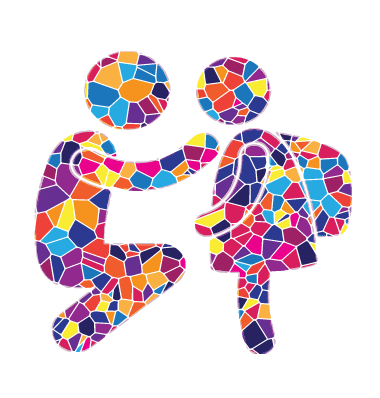 Parent and child outline in Mosaic Style, created for Temple Beth El;