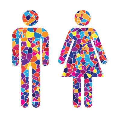 man and woman outline in Mosaic Style, created for Temple Beth El