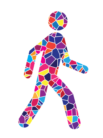 Person walking in mosaic style, created for Temple Beth El;