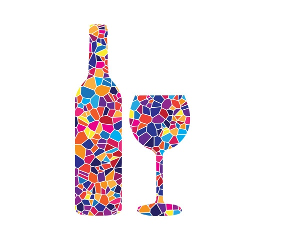 Wine bottle and wine glass in mosaic style, created for Temple Beth El; (grape expectations)
