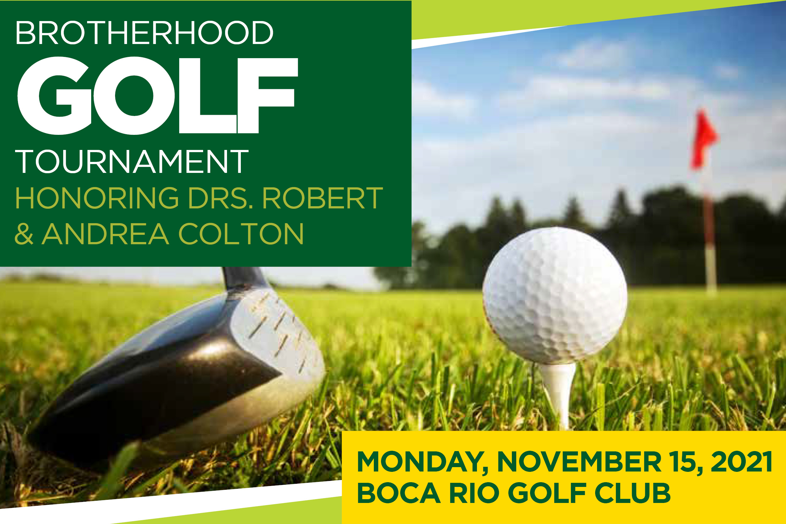 Brotherhood Golf Tournament Honoring Drs. Robert and Andrea Colton event graphic for Temple Beth El