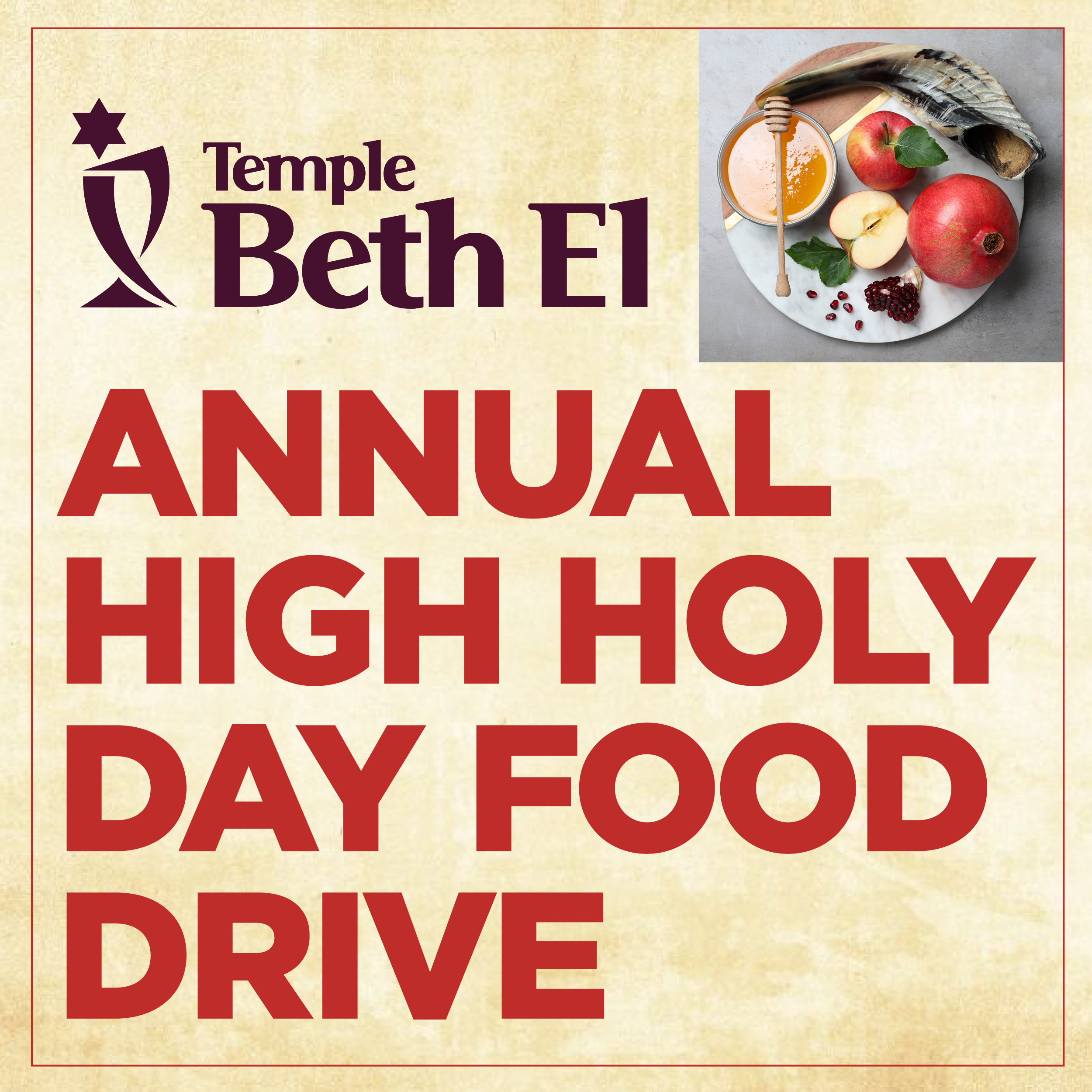 Temple Beth El Annual High Holy Day Food Drive event graphic 2021