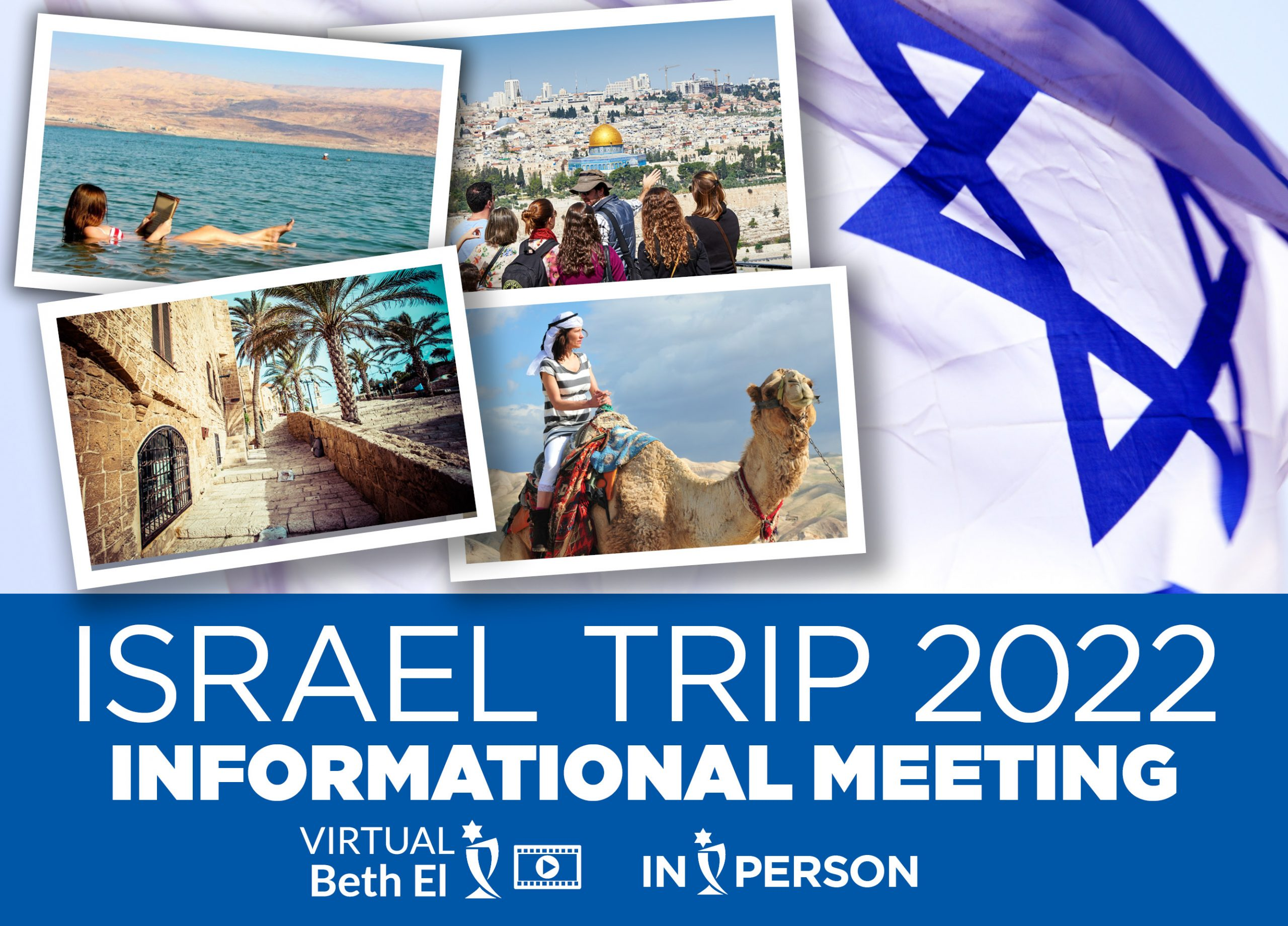 Israel Trip 2022 Informational Meeting event graphic for Temple Beth El of Boca Raton