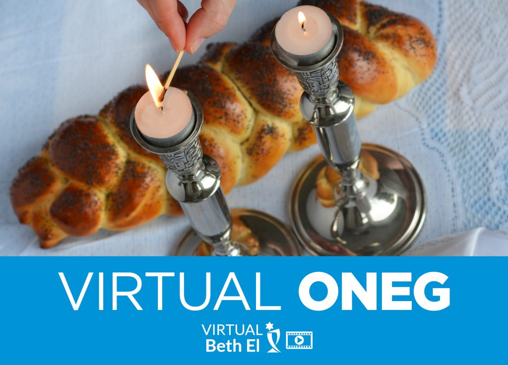 Virtual Oneg event graphic for Temple Beth El of Boca Raton