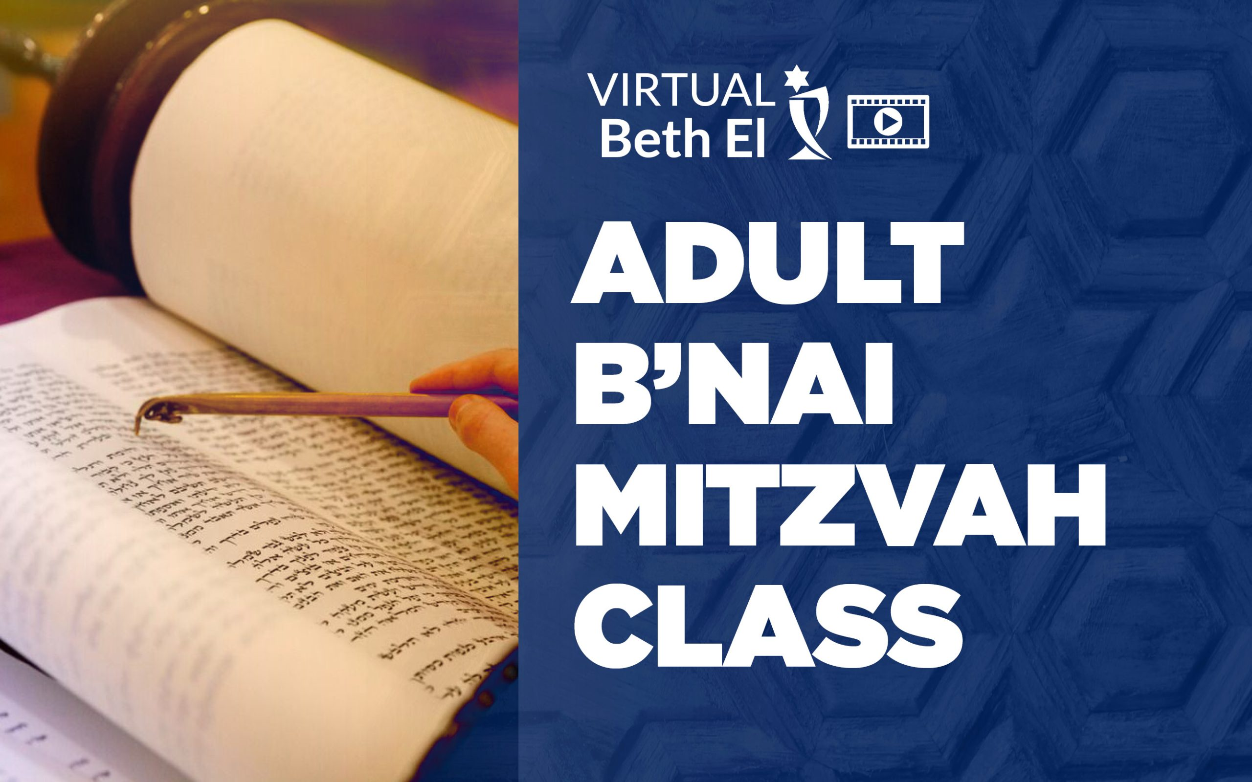 Adult B'nai Mitzvah Class Event Graphic for Temple Beth El - Virtual