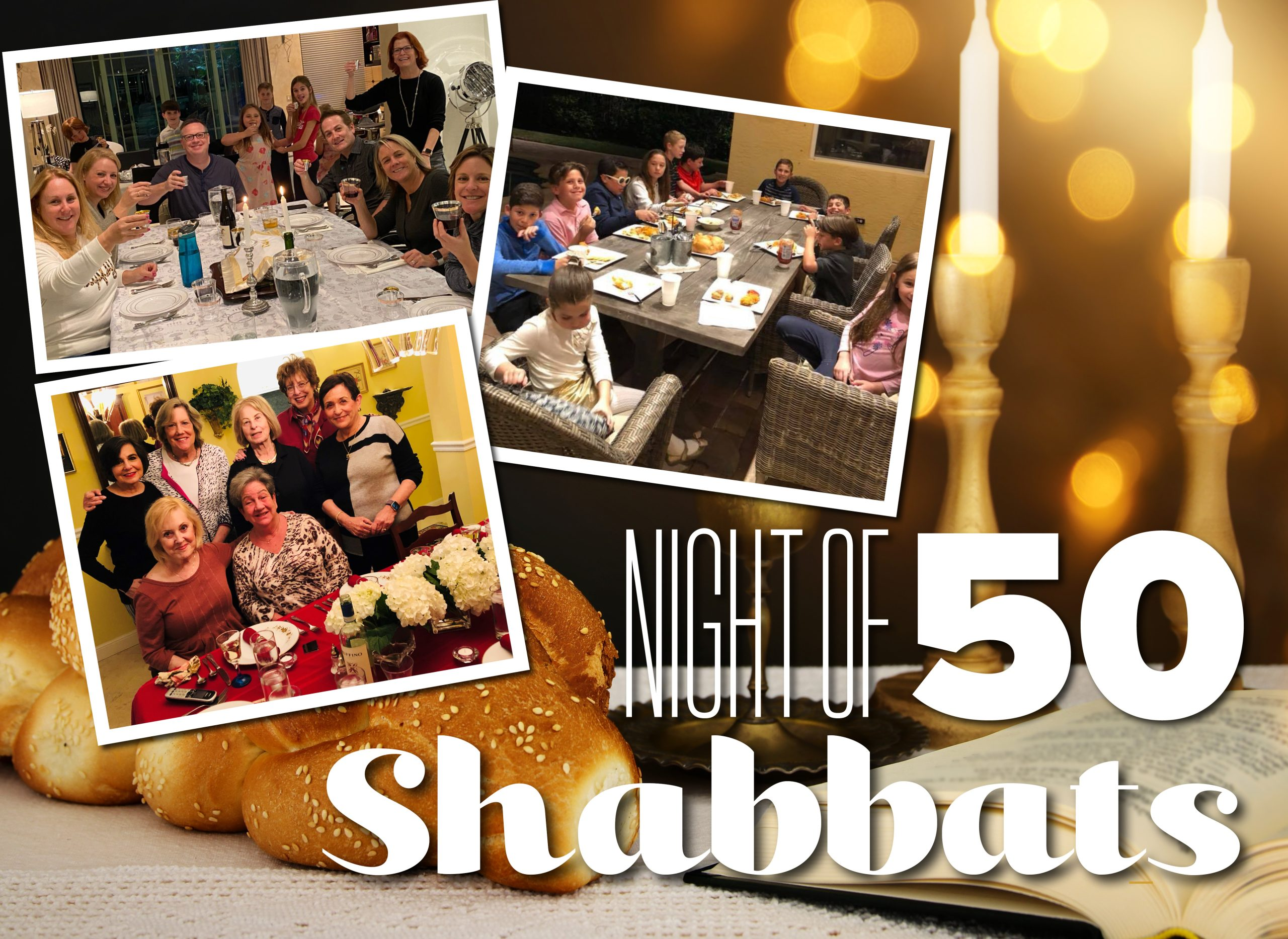 Night of 50 Shabbats event graphic for Temple Beth El 2021