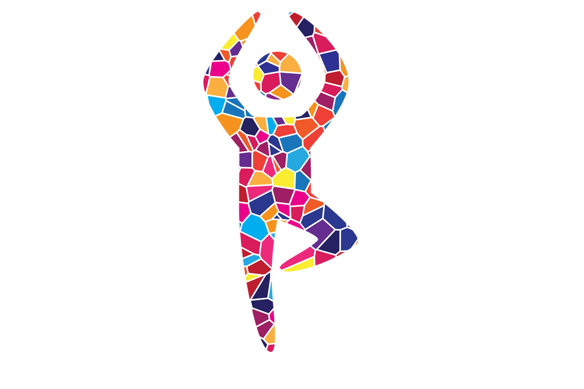 Person doing Yoga Mosaic Style, created for Temple Beth El;